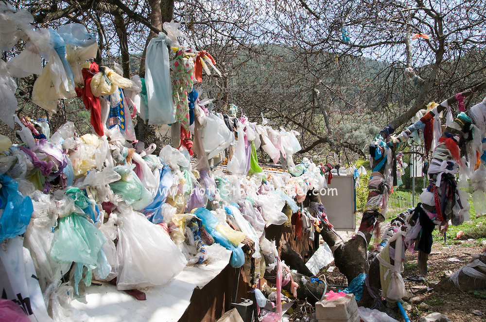 Israel, Upper Galilee, Amuka, The grave of Yonatan ben Uziel, Pilgrimage site for believers seeking a spouse or marriage. Scarves and trinkets left on site as a good luck charm