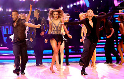 Luba Mushtuk (centre) and Johannes Radebe (left) perform during a photocall before the opening night of the Strictly Come Dancing Tour 2019 at the Arena Birmingham, in Birmingham. Picture date: Thursday January 17, 2019. Photo credit should read: Aaron Chown/PA Wire