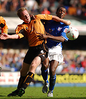 Fotball<br /> England<br /> Foto: SBI/Digitalsport<br /> NORWAY ONLY<br /> <br /> Coca-Cola Championship.<br /> Ipswich Town v  Wolverhampton Wanderers 30/08/2004<br /> <br /> Ipswich Town's Darren Bent and Wolverhampton Wanderers' Jody Craddock