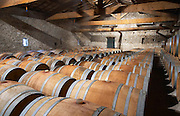 Chateau de Lascaux, Vacquieres village. Pic St Loup. Languedoc. Barrel cellar. France. Europe.
