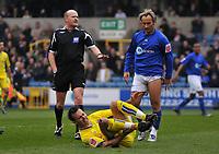 Photo: Tony Oudot/Richard Lane Photography. <br /> Millwall v Leeds United. Coca-Cola League One. 19/04/2008. <br /> Referee Lee Mason books Millwalls Ahmet Brkovic for a bad challenge on Dougie Freedman of Leeds