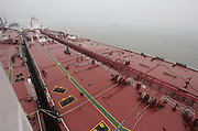 "GUANGZHOU, CHINA - NOVEMBER 4: (CHINA OUT) <br /> <br /> China's largest crude oil tanker ""Kai Gui"" with load capacity of 200,000 tons starts its maiden voyage on November 4, 2014 in Guangzhou, Guangdong province of China. China's largest crude oil tanker ""Kai Gui"" with total height of over 70 meters is seven times larger than Chinese aircraft carrier ""Liaoning"". <br /> ©Exclusivepix"
