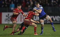 Bath's Tom Ellis is tackled by Saracens Alex Lozowski during the Gallagher Premiership match at the Recreation Ground, Bath.