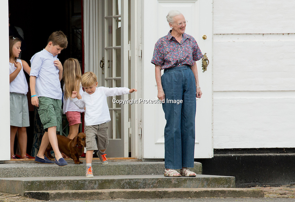 Grasten, 24-07-2015<br /> <br /> Queen Margrethe and Prince Henrik, Crown Prince Frederik and Crown Princess Mary attended with their children the ceremonial changing of the guard at Grasten Palace.<br /> <br /> Royalportraits Europe/Bernard Ruebsamen