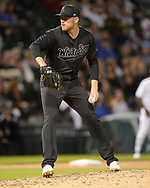 CHICAGO - AUGUST 23:  Aaron Bummer #39 of the Chicago White Sox pitches against the Texas Rangers during Players Weekend on August 23, 2019 at Guaranteed Rate Field in Chicago, Illinois.  (Photo by Ron Vesely)  Subject:   Aaron Bummer