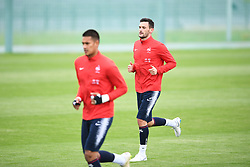 MOSCOW, July 4, 2018  France's Hugo Lloris (R) attends a training session near Moscow, Russia, on July 4, 2018. France will face Uruguay in a quarter-final match of the 2018 FIFA World Cup on July 6. (Credit Image: © Du Yu/Xinhua via ZUMA Wire)