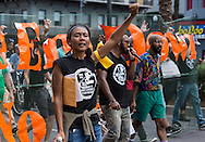 Sept. 24, New Orleans,  Protesters take part in a 'Take Em Down NOLA march. The group threatened to topple the statue, in response to the city not removing four statues of Confederate figures in New Orleans. Former Ku Klux Klan leader and current U.S. Senate candidate David Duke came to the park to show his support for the  Confederate statues, but left before the protesters arrived.