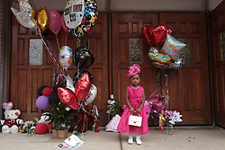August 16, 2018 - Detroit , Michigan, U.S. - LAYLAH POPE of Detroit stands by a memorial outside of New Bethel Baptist Church in Detroit while visiting the church where Aretha Franklin grew up attending in Detroit on Thursday following her passing. (Credit Image: © Ryan Garza/Detroit Free Press via ZUMA Wire)