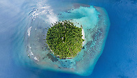 Aerial view of isolated natural island, Southern Maldives