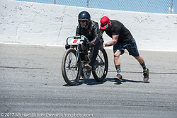 Paul Cox on his 1917 Indian Powerplus in Billy Lane's Son's of Speed race during Daytona Bike Week. New Smyrna Beach, FL. USA. Saturday March 18, 2017. Photography ©2017 Michael Lichter.