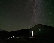 """Yurt and milky way. Camp at a Wakhi high pasture names """"Warm"""", below Garumdee Pass. Guiding and photographing Paul Salopek while trekking with 2 donkeys across the """"Roof of the World"""", through the Afghan Pamir and Hindukush mountains, into Pakistan and the Karakoram mountains of the Greater Western Himalaya."""