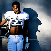 Jeremy Lacey of the Fullerton College football team poses for portrait post game of the Orange Coast VS Fullerton football match at Orange Coast College in Costa Mesa, Calif., on Saturday November 5, 2016. (© Ella DeGea / Sports Shooter Academy 2016)