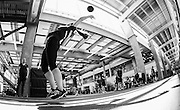 Jane Channell tosses the medicine ball during the bobsleigh and skeleton decathlon at the Canadian Sport Institute Calgary high performance training area at Winsport on July 8 and 10, 2014.