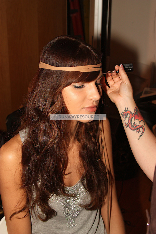 Models backstage at Abi Ferrin Spring 2010 fashion show during Style360 Fashion Week in New York, NY September 13, 2009