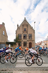 The peloton speed by at the 2020 Gent Wevelgem - Elite Women, a 141.4 km road race from Ieper to Wevelgem, Belgium on October 11, 2020. Photo by Sean Robinson/velofocus.com