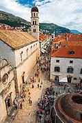 The Onofrio's Fountain and Franciscan Monastery on the Stradun, old town Dubrovnik, Dalmatian Coast, Croatia