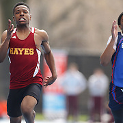 Robert Harris, (left), Cardinal Hayes, winning the Boys 100 Meter Dash during the 2013 NYC Mayor's Cup Outdoor Track and Field Championships at Icahn Stadium, Randall's Island, New York USA.13th April 2013 Photo Tim Clayton