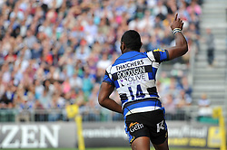 Semesa Rokoduguni of Bath Rugby celebrates his try - Photo mandatory by-line: Patrick Khachfe/JMP - Mobile: 07966 386802 13/09/2014 - SPORT - RUGBY UNION - Bath - The Recreation Ground - Bath Rugby v London Welsh - Aviva Premiership