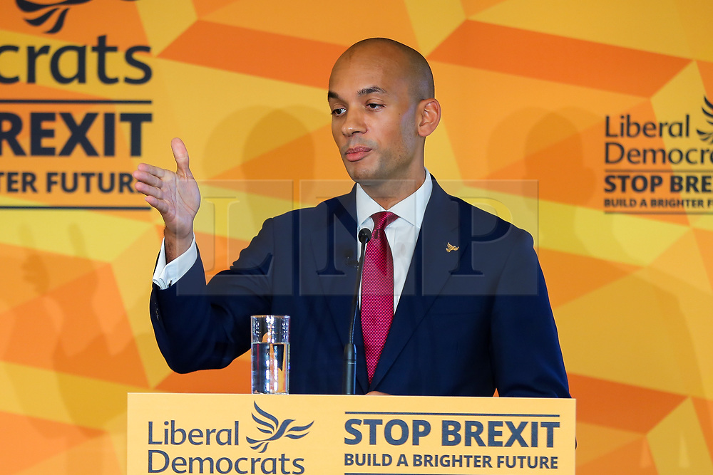 © Licensed to London News Pictures. 25/11/2019. Watford, UK. Liberal Democrat Foreign Affairs Spokesman CHUKA UMUNNA speaks to party activists and supporters at Watford Football Club on Liberal Democrat foreign policy. The Liberal Democrats' commit to spending 2% of Gross Domestic Product (GDP) on defence, as mandated by NATO. Photo credit: Dinendra Haria/LNP