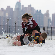 Kaitlyn Gaton, Clarion College goes aver for a try as Caroline Nickels, Molloy College attempts to tackle during the Clarion vs Molloy Women's College Division game at the Four Leaf 15s Rugby Tournament which attracted over 60 clubs teams from New York and Interstate. Randall's Island Park, New York,  USA. 21st March 2015. Photo Tim Clayton