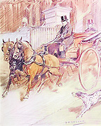 He can drive a phaeton and two from the book The sport of our ancestors; being a collection of prose and verse setting forth the sport of fox-hunting as they knew it; by baron Willoughby de Broke, Richard Greville Verney, 1869-1923; and illustrated by Armour, G. D. (George Denholm),  Published in London by Constable and co. ltd. in 1921