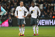 Zlatan Ibrahimovic of Manchester United (l) chats to Paul Pogba of Manchester United before taking a free kick. Premier league match, West Ham Utd v Manchester Utd at the London Stadium, Queen Elizabeth Olympic Park in London on Monday 2nd January 2017.<br /> pic by John Patrick Fletcher, Andrew Orchard sports photography.