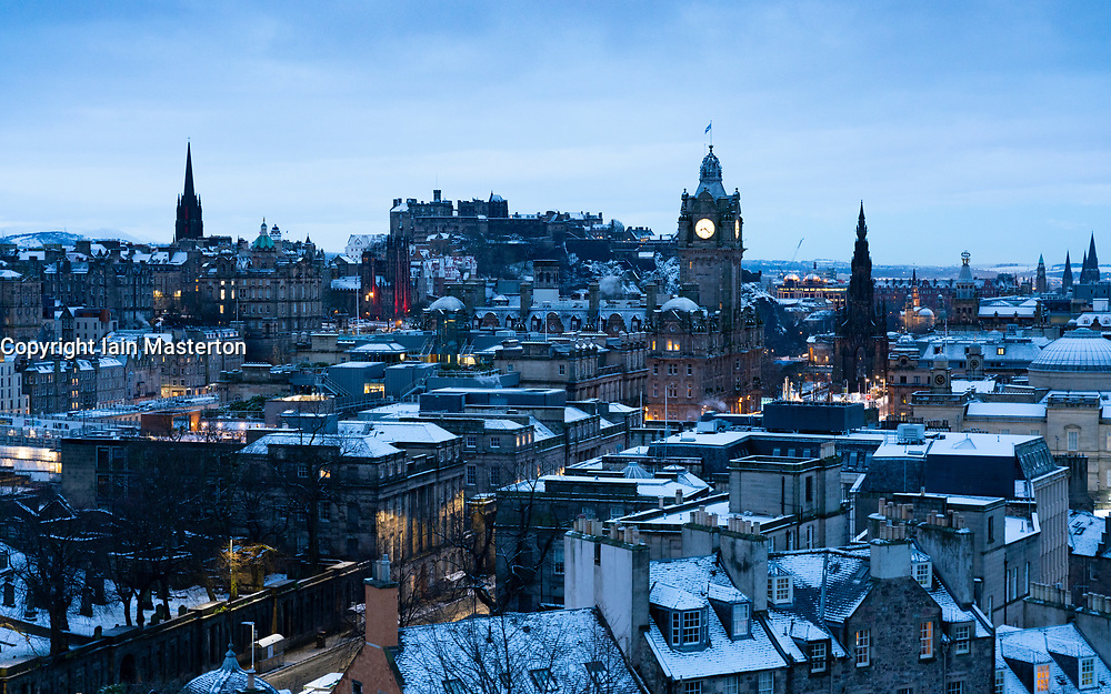 Early morning winter skyline view of Edinburgh from Calton Hill after snow , Scotland, UK