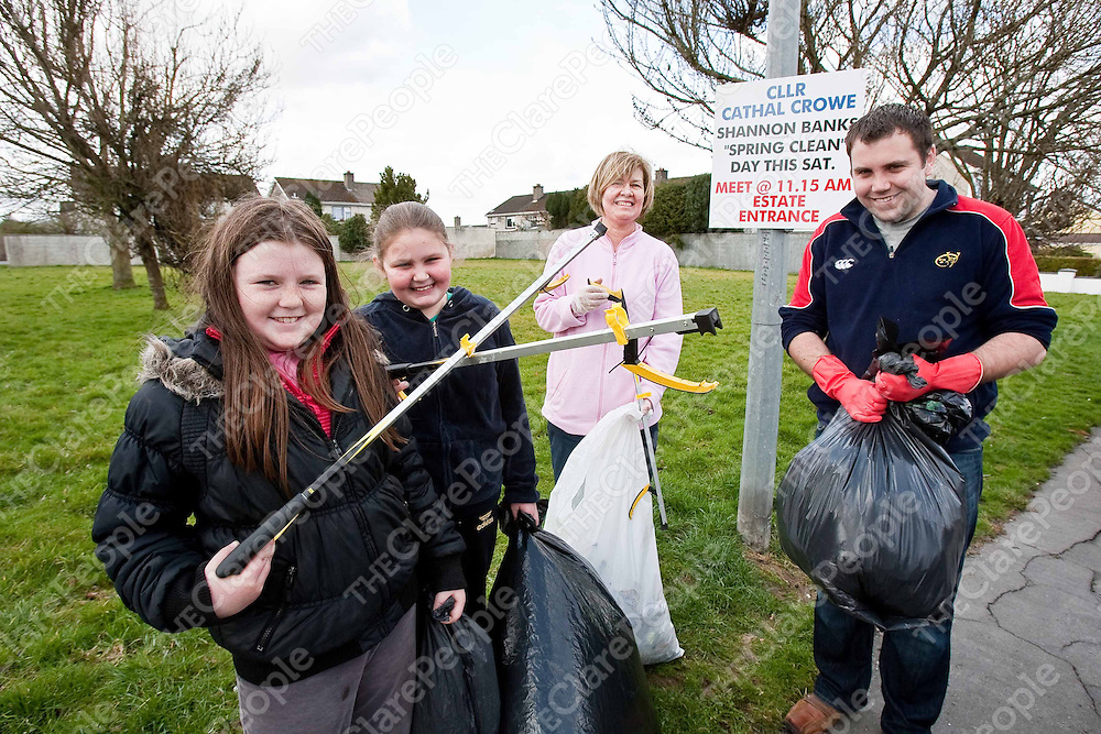 Tameka Bell,Juliet Duhig ,Christina Darcy and Cllr Cathal Crowe taking part in the Westbury and Shannon Banks Clean up on Saturday. Photograph by Eamon Ward