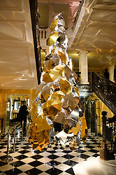 Christmas Tree at a party to celebrate theunveiling of the Claridge's Christmas Tree designed by Christopher Bailey for Burberryheld at Claridge's, Brook Street, London on 18th November 2015.