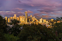 Seattle Skyline, Lavender Sunset