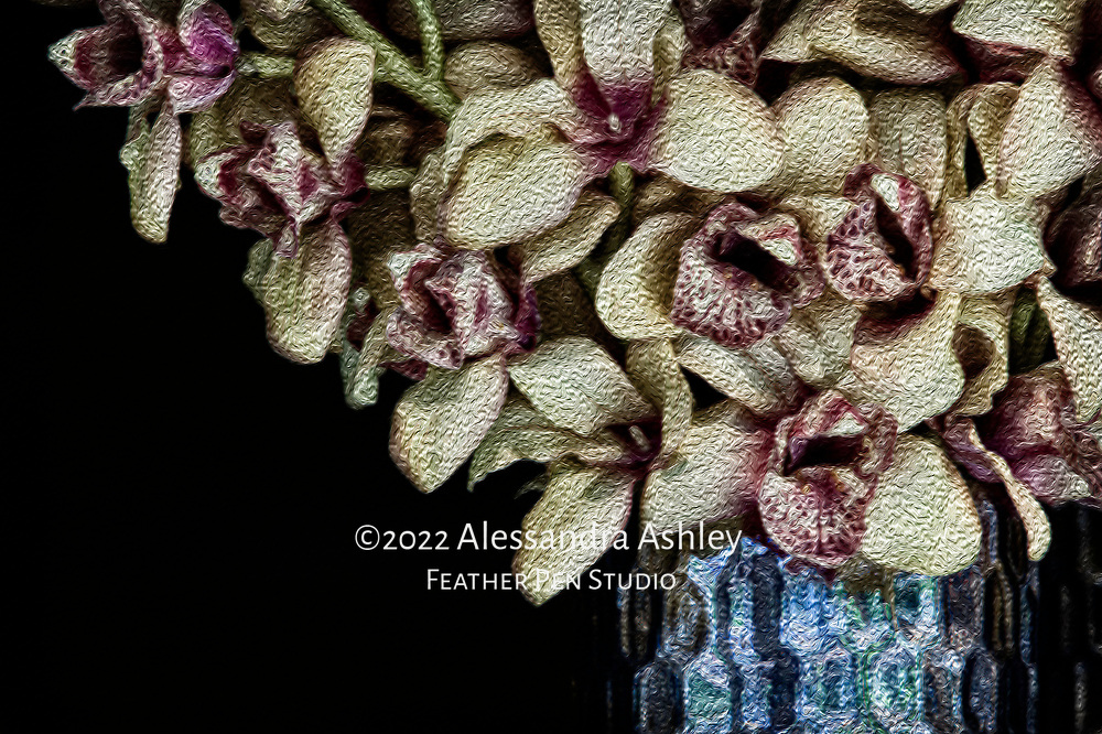 Orchid bouquet found in urban street market setting. Oil paint effects blended with original photo.