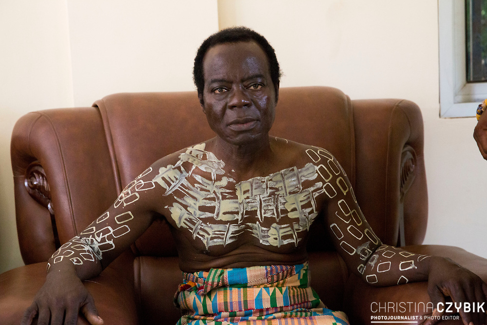 King Cephas Bansah with a traditional body painting that symbolizes strength and cautiousness at the home of Ewefiaga Togbui Agboli K.F.Agokoli IV (King of the Ewe) in Notse<br /> <br /> Day 1 of the Agbogboza Festival in Notse, Togo on September 1st, 2016<br /> <br /> ***Togbe Ngoryifia Cephas Kosi Bansah of Gbi Traditional Area Hohoe Ghana and Traditional, Spiritual and Honorable King of the Ewes and his wife, Queen Mother Gabriele Akosua Bansah Ahado Hohoe Ghana***