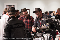 BMW design director Ola Stenegard talks about the R5 Hommage custom designed by his design team in Munich unveiled in North America at the media meet and greet on the Industry party night for Michael Lichter's tattoo themed Skin & Bones Motorcycles as Art exhibition at the Buffalo Chip during the annual Sturgis Black Hills Motorcycle Rally.  SD, USA.  August 7, 2016.  Photography ©2016 Michael Lichter.