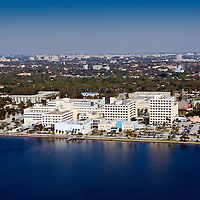 Mercy Hospital bayfront location in Miami. View is north from the helicopter towards Miami International Airport.