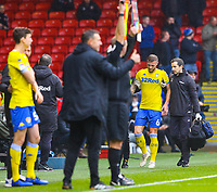 Leeds United's Liam Cooper limps off the field after sustaining an injury<br /> <br /> Photographer Alex Dodd/CameraSport<br /> <br /> The EFL Sky Bet Championship - Sheffield United v Leeds United - Saturday 1st December 2018 - Bramall Lane - Sheffield<br /> <br /> World Copyright © 2018 CameraSport. All rights reserved. 43 Linden Ave. Countesthorpe. Leicester. England. LE8 5PG - Tel: +44 (0) 116 277 4147 - admin@camerasport.com - www.camerasport.com