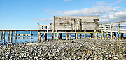 South Island, New Zealand, Dilapidated wooden cabin of the beach