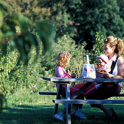 Bolton, MA. USA.  A mom and her kids enjoy a day at the Nicewicz Farm in Massachusetts' Nashoba Valley.  Apple orchard. Macintosh apples.