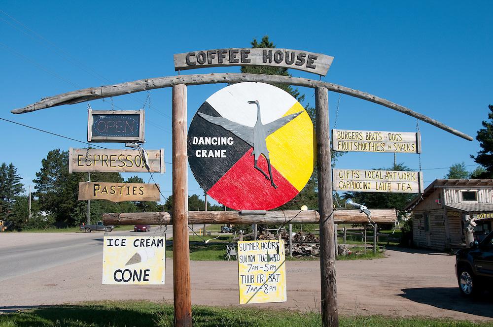 Dancing Crane Coffee House sign in Brimley Michigan.
