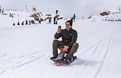 THEMENBILD - Arabische Touristen rodeln auf einer Piste am Kitzsteinhorn, aufgenommen am 16. Juli 2019 in Kaprun, Österreich // Arab tourists toboggan on a slope at the Kitzsteinhorn, Kaprun, Austria on 2019/07/16. EXPA Pictures © 2019, PhotoCredit: EXPA/ JFK