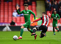Preston North End's Josh Harrop is fouled by Sheffield United's John Fleck<br /> <br /> Photographer Chris Vaughan/CameraSport<br /> <br /> The EFL Sky Bet Championship - Sheffield United v Preston North End - Saturday 28th April 2018 - Bramall Lane - Sheffield<br /> <br /> World Copyright © 2018 CameraSport. All rights reserved. 43 Linden Ave. Countesthorpe. Leicester. England. LE8 5PG - Tel: +44 (0) 116 277 4147 - admin@camerasport.com - www.camerasport.com