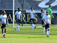Football - 2020 / 2021 Sky Bet Championship - Swansea City vs Wycombe Wanderers - Liberty Stadium<br /> <br /> Swansea look down after conceding their 2nd goal<br /> <br /> COLORSPORT/WINSTON BYNORTH