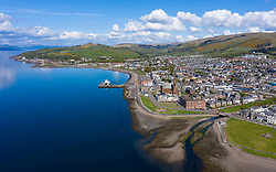 Aerial view of seaside town of Largs in North Ayrshire, Scotland, UK
