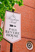 Freedom Trail sign marking the Paul Revere House, Boston, Massachusetts
