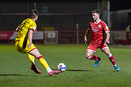 Crawley Town defender Nicholas Tsaroulla (#25) on the ball during the EFL Sky Bet League 2 match between Crawley Town and Walsall at The People's Pension Stadium, Crawley, England on 16 March 2021.