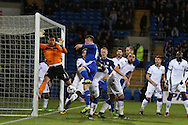 Marco Silvestri , the Leeds Utd goalkeeper makes a save from Cardiff's Anthony Pilkington, stats show that the keeper made more saves in this match than any other goalkeeper in the Championship this season. Skybet football league championship match, Cardiff city v Leeds Utd at the Cardiff city stadium in Cardiff, South Wales on Tuesday 8th March 2016.<br /> pic by Andrew Orchard, Andrew Orchard sports photography.
