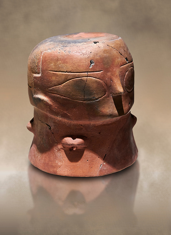 Terracotta Vase with female face. Catalhoyuk Collections. Museum of Anatolian Civilisations, Ankara .<br /> <br /> If you prefer you can also buy from our ALAMY PHOTO LIBRARY  Collection visit : https://www.alamy.com/portfolio/paul-williams-funkystock/prehistoric-neolithic-art.html - Type Catalhoyuk into the LOWER SEARCH WITHIN GALLERY box. Refine search by adding background colour, place, museum etc.<br /> <br /> Visit our PREHISTORIC PLACES PHOTO COLLECTIONS for more  photos to download or buy as prints https://funkystock.photoshelter.com/gallery-collection/Prehistoric-Neolithic-Sites-Art-Artefacts-Pictures-Photos/C0000tfxw63zrUT4