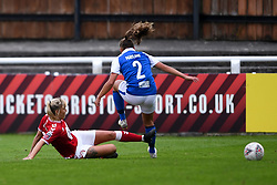 Gemma Evans of Bristol City Women challenges Sarah Mayling of Birmingham City Women - Mandatory by-line: Ryan Hiscott/JMP - 18/10/2020 - FOOTBALL - Twerton Park - Bath, England - Bristol City Women v Birmingham City Women - Barclays FA Women's Super League