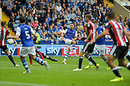Sheffield Wednesday defender Jack Hunt (2) with a shot at goal during the EFL Sky Bet Championship match between Sheffield Wednesday and Sheffield Utd at Hillsborough, Sheffield, England on 24 September 2017. Photo by Adam Rivers.
