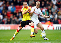 Jay McEveley. ( Preston ). Will Hoskins. ( Watford ).  Watford v Preston North End at Vicarage Road Watford <br /> Coca Cola Championship.  04/10/2008<br /> Credit Colorsport / Kieran Galvin