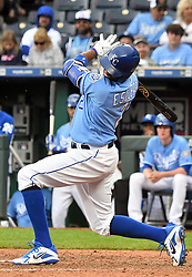 April 29, 2018 - Kansas City, Missouri, U.S. - KANSAS Kansas City, MO - APRIL 29:  Kansas City Royals shortstop Alcides Escobar (2) is hit by a pitch in the eighth inning during a MLB game between the Chicago White Sox and the Kansas City Royals on April 29, 2018, at Kauffman Stadium, Kansas City, MO.  Kansas City won, 5-4. (Photo by Keith Gillett/Icon Sportswire) (Credit Image: © Keith Gillett/Icon SMI via ZUMA Press)